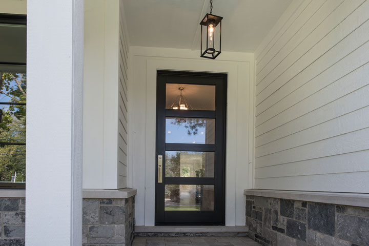 Transitional Entry Door.  Traditional Style Door. Mahogany Wood, Satinato Glass DB-823PWC