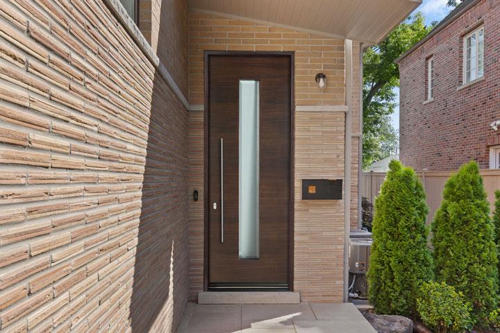 Modern Entry Door.  Modern Single Door, Satinato Beveled Glass DB-EMD-D4