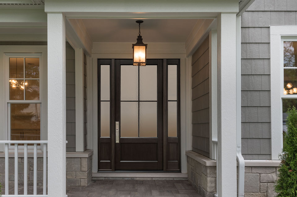 Classic Entry Door.  classic wood entry door, single with 2 sidelites, clear glass DB-104PW 2SL