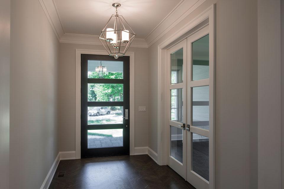 Transitional Entry Door.  Traditional Style Door. Mahogany Wood, Satinato Glass DB-823PWC