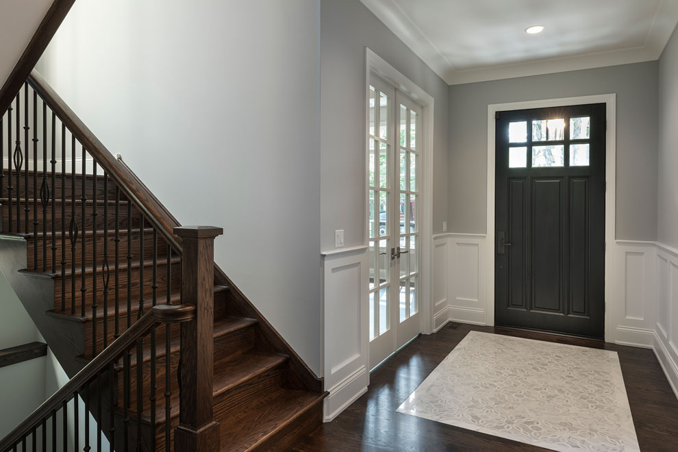 Classic Entry Door.  interior view of classic front entry door, in dark finish DB-311PW