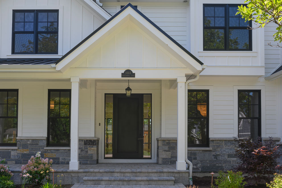 Classic Entry Door.  classic single  front door with sidelites, clear beveled glass DB-001PW 2SL