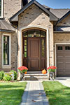 Custom Wood Front Entry Doors - exterior view of luxury entry door, furniture quality finish. DB-301T 2SL