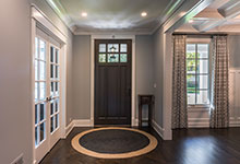 Custom Wood Front Entry Doors - Interior View of Classic Front Entry Mahgoany Door with Clear Divided Lites. DB-311PW