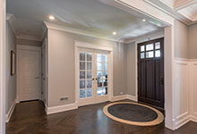 Custom Wood Front Entry Doors - classic front entry door, interior view, solid wood, dark finish. DB-311PW