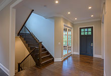 Custom Wood Front Entry Doors - single classic front entry door, hallway view. DB-112PW
