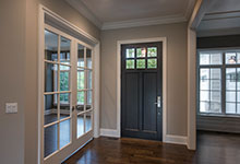 Custom Wood Front Entry Doors - interior view of classic single front entry door. DB-112PW
