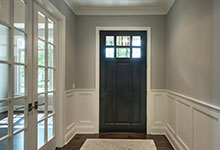 Classic Entry Door.     classic style front entry door, interior view, dark finish DB-311PW 2SL