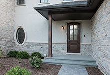 Custom Wood Front Entry Doors - privacy glass on single front entry door, for luxury home. DB-652W