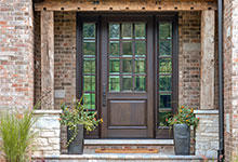 Custom Wood Front Entry Doors - Custom Solid Mahogany Wood Door with Two Sidelites, Clear Beveled Glass with Grilles.