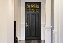 Custom Wood Front Entry Doors - Classic Collection 3 Panel Door, Euro Technology, Clear Beveled Glass, Interior View. DB-311PW