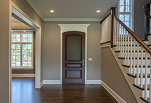 Custom Wood Front Entry Doors - high end single front entry door, in dark finish.