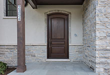 Custom Wood Front Entry Doors - solid wood front entry door, walnut stain, for luxury home.