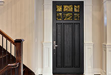 Custom Wood Front Entry Doors - classic single solid wood front entry door, clear glass. DB-311PW
