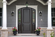 Custom Wood Front Entry Doors - Custom Arched Top Mahogany Wood Front Entry Door with Sidelites.