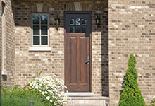 Custom Wood Front Entry Doors - single front entry door, solid wood, clear glass.