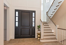 Classic Entry Door.     two panel classic front entry door, in dark finish, hallway view DB-301PW 2SL