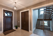 Custom Wood Front Entry Doors - Front Door, Stairs. DB-114W CST