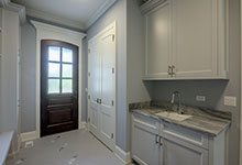 Custom Wood Front Entry Doors - mudroom entry door, with privacy glass, solid wood. DB-652W